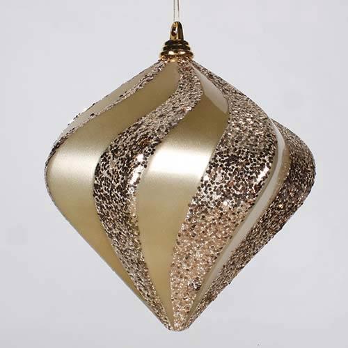 Vickerman Champagne 10-Inch Candy Glitter Swirl Diamond Ornament