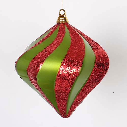 Lime and Red 10-Inch Candy Glitter Swirl Diamond Ornament