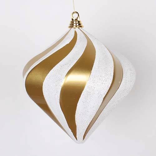 Gold and Silver 10-Inch Candy Glitter Swirl Diamond Ornament