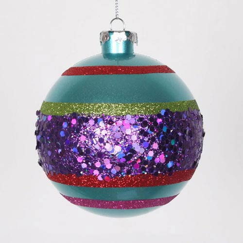Multicolor 4-Inch Glitter Ball, Set of Four