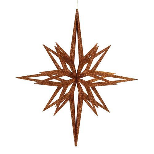 Copper 32-Inch 3D Glitter Star Ornament