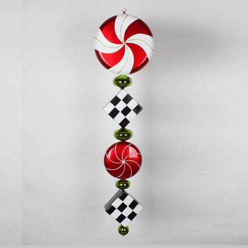 Red and Black 45-Inch Check Jumbo Finial Ornament