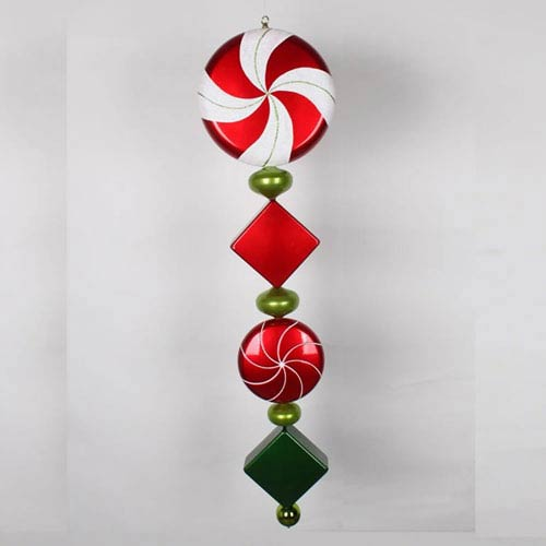 Red and Lime 45-Inch Check Jumbo Finial Ornament