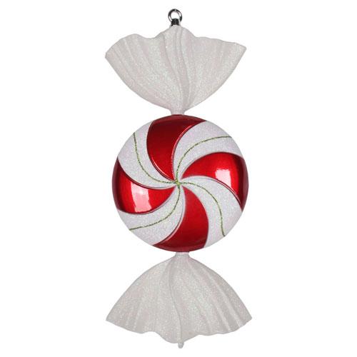 Red-White Swirl Candy Irid Glitter