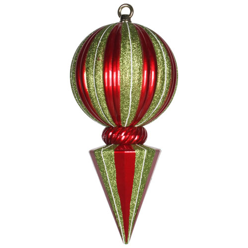 Red and Lime Striped Ball Finial