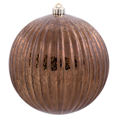 Chocolate Mercury Pumpkin Ball Ornament, Set of Four
