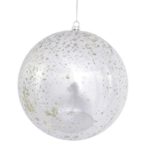 Silver Shiny Mercury Ball Ornament, Set of Four