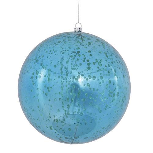 Turquoise Shiny Mercury Ball Ornament, Set of Four