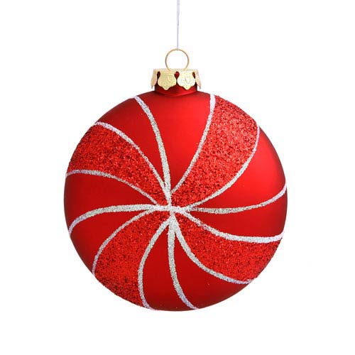 Vickerman Red Assorted Shape Swirl Ornaments 95mm 3/Box