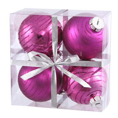 Vickerman Magenta Assorted Ball Ornament 80mm 4/Box