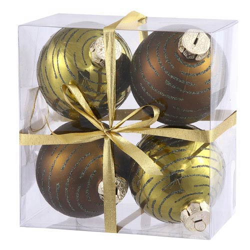 Vickerman Dark Olive Assorted Ball Ornament 80mm 4/Box