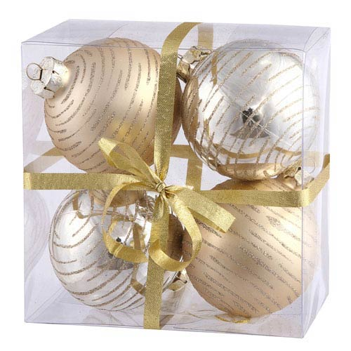 Vickerman Champagne Assorted Ball Ornament 80mm 4/Box