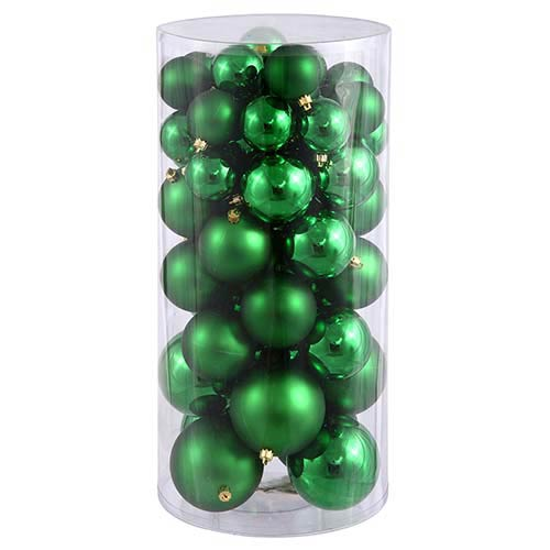 Vickerman Green Shiny and Matte Ball Ornaments, 50 per Box
