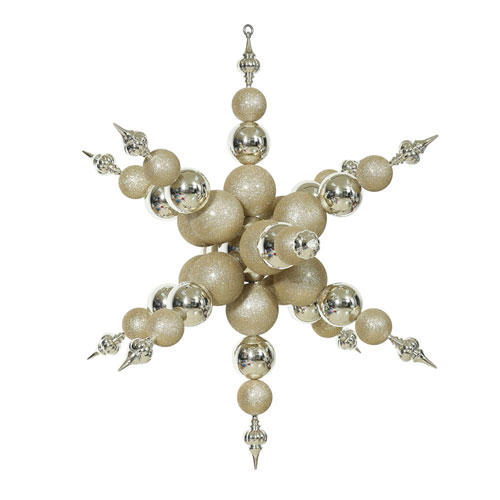 Vickerman Champagne Shiny Radical Snowflake Ornament