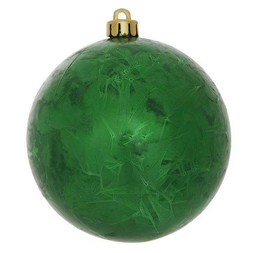 Green 4-Inch Crackle Ball Ornament, Set of Six