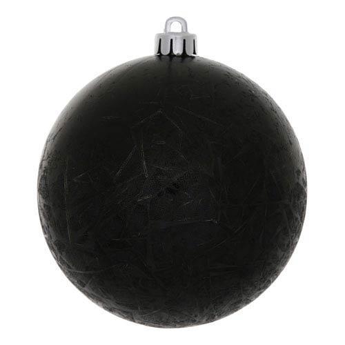 Black 4-Inch Crackle Ball Ornament, Set of Six