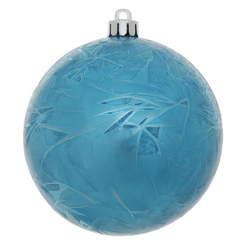Turquoise Crackle Ball Ornament, Set of Four