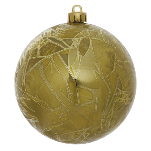 Olive Crackle Ball Ornament, Set of Four