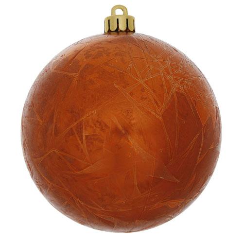 Vickerman Burnish Orange Crackle Ball Ornament, Set of Four