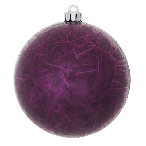 Plum Crackle Ball Ornament, Set of Four
