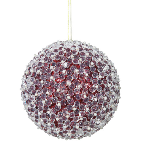 Red Acrylic Beaded Ball Ornament, Set of Four