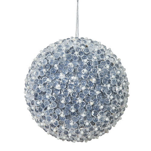 Pewter Acrylic Beaded Ball Ornament, Set of Four
