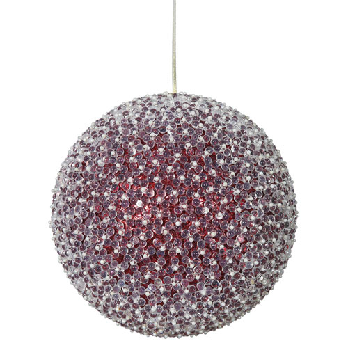 Vickerman Red Acrylic Beaded Ball Ornament