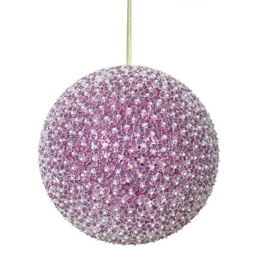 Vickerman Cerise Acrylic Beaded Ball Ornament