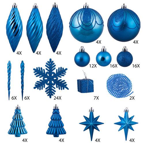 Lavish Blue Ornament Set, One Hundred and Twenty-Five Piece Set