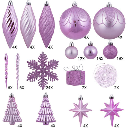 Pretty in Pink Ornament Set, One Hundred and Twenty-Five Piece Set