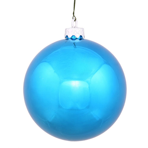Turquoise Shiny Ball Ornament, Set of Twenty-Four