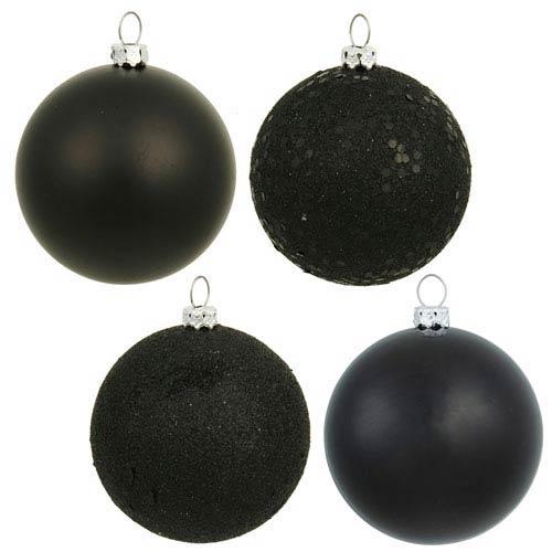 Black 4 Finish Ball Ornament 60mm 4/Box
