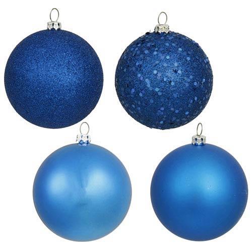 Vickerman Blue 4 Finish Ball Ornament 70mm 20/Box