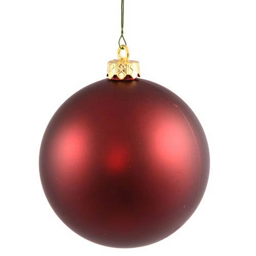 Burgundy 4 Finish Ball Ornament 70mm