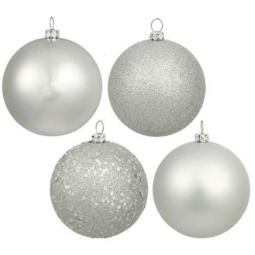 Vickerman Silver 4 Finish Ball Ornament 70mm 20/Box
