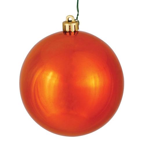 Vickerman Burnish Orange Shiny Ball Ornament, Set of Twelve