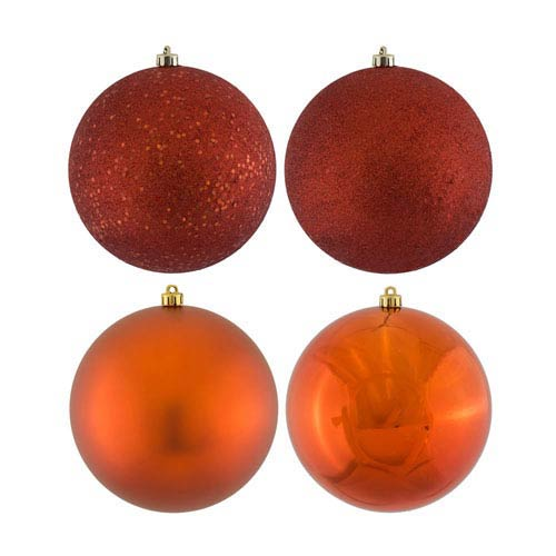 Copper Four Finish Ball Ornament, Set of 16