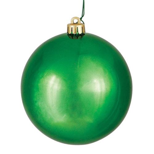 Vickerman Green Shiny Ball Ornament, Set of Six