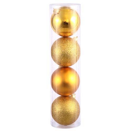 Vickerman Antique Gold 4 Finish Ball Ornament 100mm 12/Box
