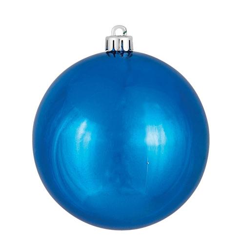 Vickerman Blue Shiny Ball Ornament, Set of Four