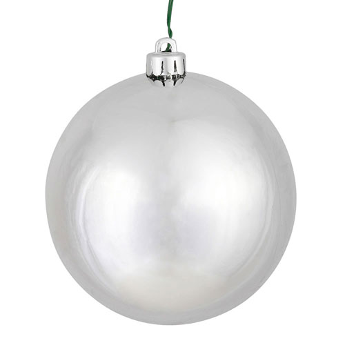 Silver Shiny Ball Ornament, Set of Four
