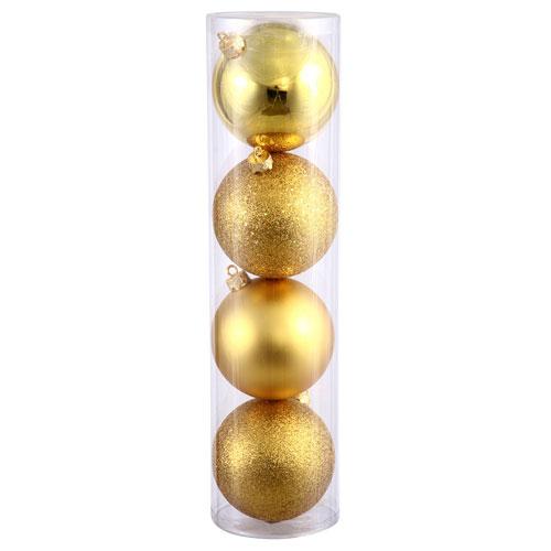 Gold 4 Finish Ball Ornament 120mm 4/Box
