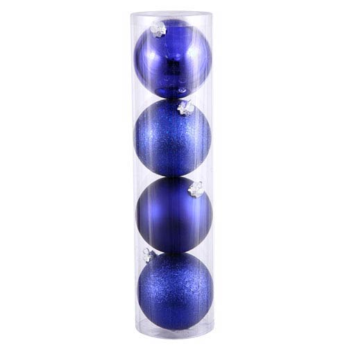 Cobalt Blue 4 Finish Ball Ornament 120mm 4/Box