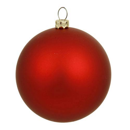 Red 6-Inch UV Matte Ball Ornament, Set of Four