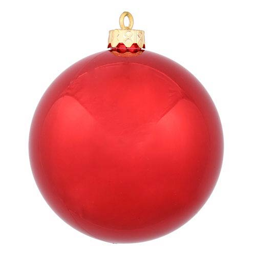 Red 6-Inch UV Shiny Ball Ornament, Set of Four