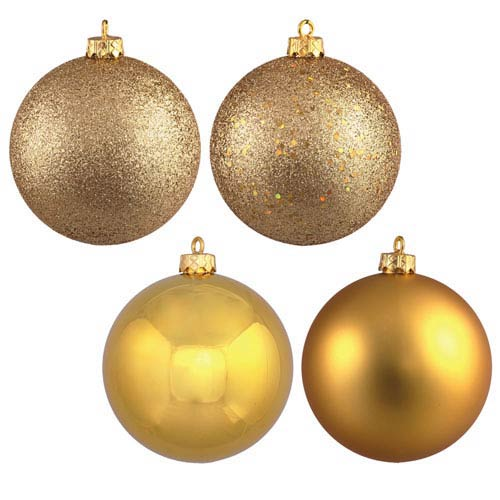 Gold 6-Inch Four Finish Ball Ornament, Set of Four