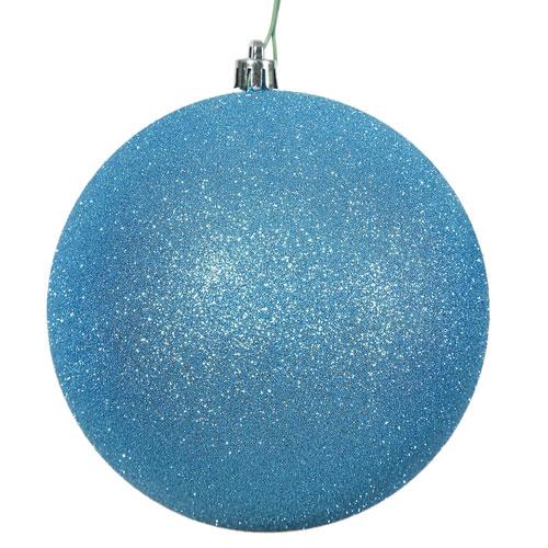 Vickerman Turquoise Glitter Ball Ornament, Set of Four