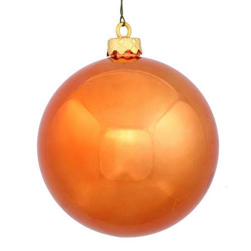 Burnish Orange 6-Inch UV Shiny Ball Ornament, Set of Four