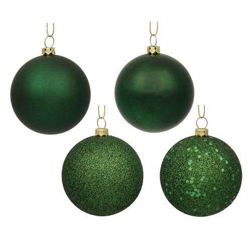 Emerald 6-Inch Four Finish Ball Ornament, Set of Four