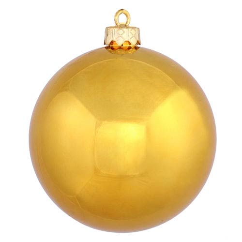 Antique Gold 6-Inch UV Shiny Ball Ornament, Set of Four